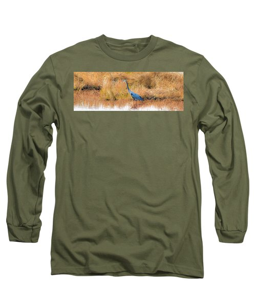 Great Blue Heron Long Sleeve T-Shirt by Marion Johnson