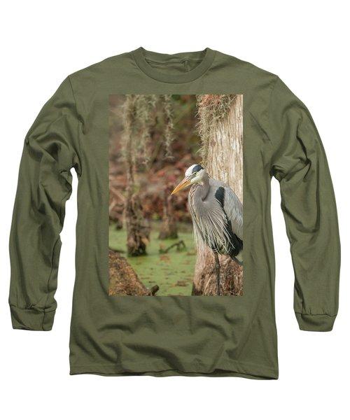 Great Blue Heron On Guard Long Sleeve T-Shirt