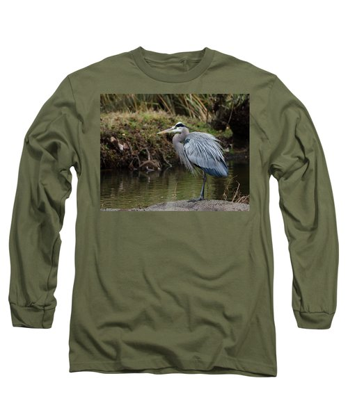Great Blue Heron On The Watch Long Sleeve T-Shirt by George Randy Bass