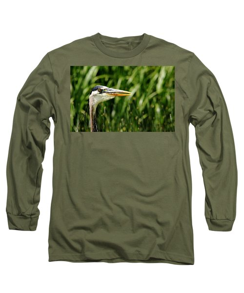 Long Sleeve T-Shirt featuring the photograph Great Blue Heron Portrait by Debbie Oppermann