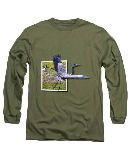 Great Blue Heron Takes Flight Long Sleeve T-Shirt by Roger Wedegis