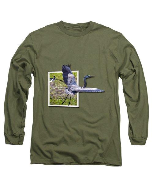 Great Blue Heron Takes Flight Long Sleeve T-Shirt