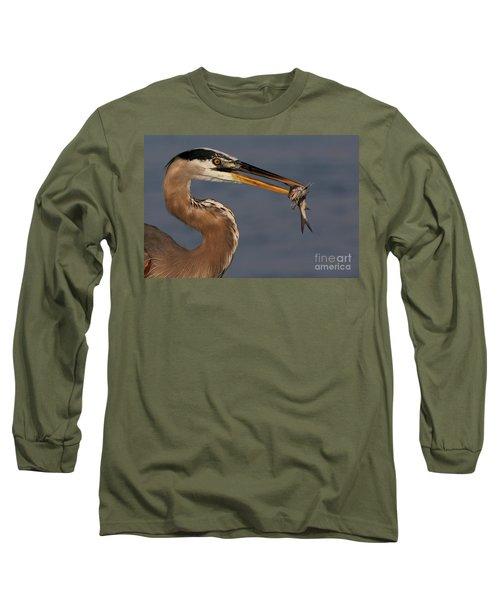 Great Blue Heron W/catfish Long Sleeve T-Shirt
