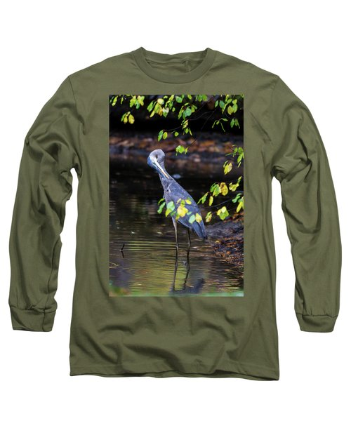 Great Blue Heron With An Itch Long Sleeve T-Shirt