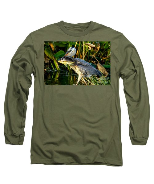 Great Blue Heron With Fish Long Sleeve T-Shirt