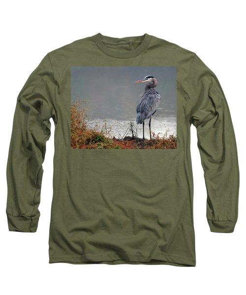 Great Blue Heron Landscape Long Sleeve T-Shirt