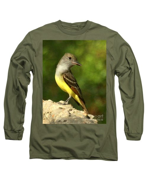 Great Crested Flycatcher Long Sleeve T-Shirt by Myrna Bradshaw