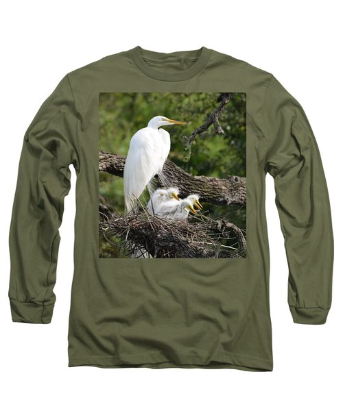 Great Egret Family  Long Sleeve T-Shirt by Richard Bryce and Family