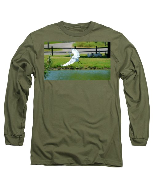 Great Egret In A Left Banking Turn - Digitalart Long Sleeve T-Shirt