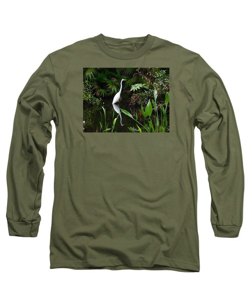 Great Egret In Pond Long Sleeve T-Shirt by Melinda Saminski