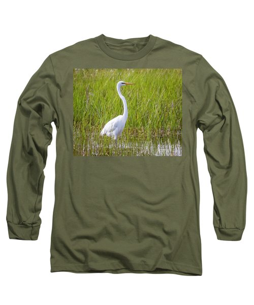 Long Sleeve T-Shirt featuring the photograph Great Egret In The Spring  by Ricky L Jones