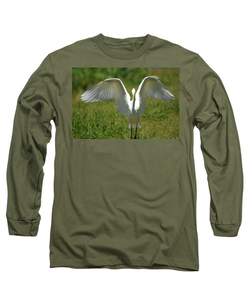 Great Egret In Unusual Portrait Long Sleeve T-Shirt