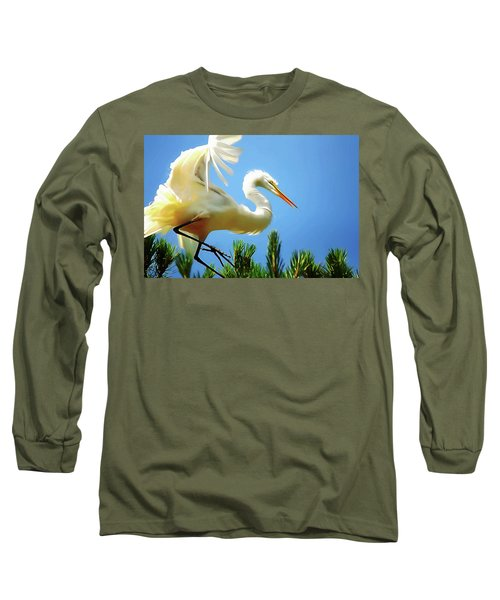Great Egret Preparing For Treetop Landing 3 - Digitalart Long Sleeve T-Shirt