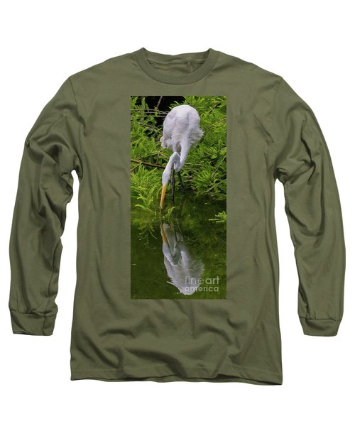 Great Egret With Its Reflection Long Sleeve T-Shirt