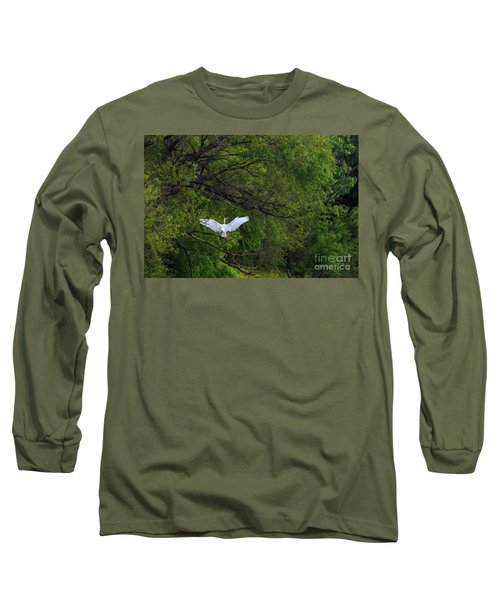 Great Egrets In The Shore Long Sleeve T-Shirt
