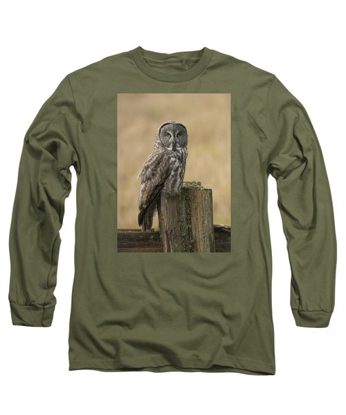 Great Gray Owl Long Sleeve T-Shirt by Doug Herr