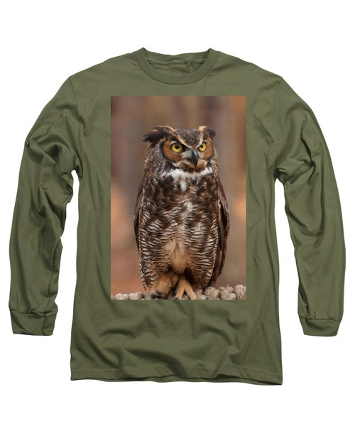 Great Horned Owl Digital Oil Long Sleeve T-Shirt by Chris Flees