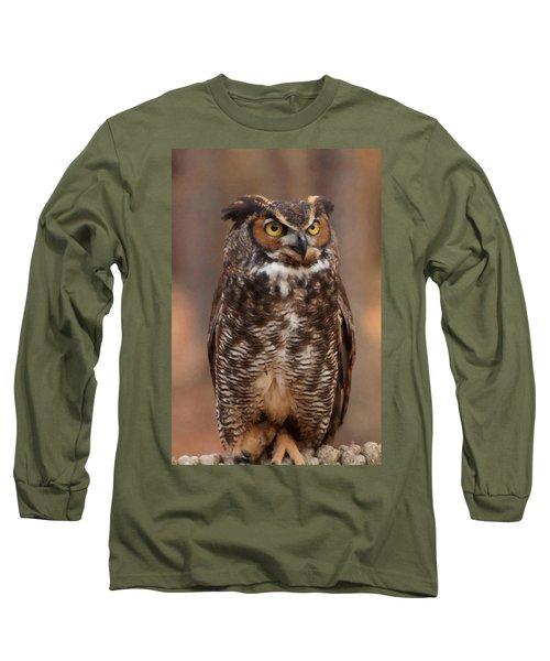 Long Sleeve T-Shirt featuring the digital art Great Horned Owl Digital Oil by Chris Flees