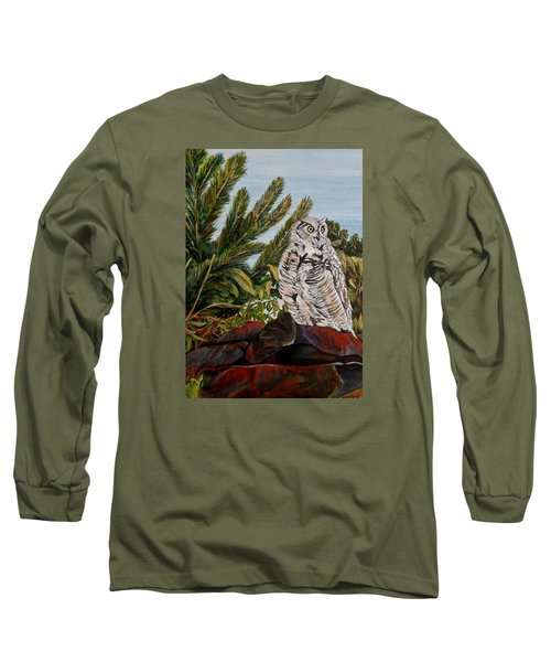 Long Sleeve T-Shirt featuring the painting Great Horned Owl - Owl On The Rocks by Marilyn  McNish