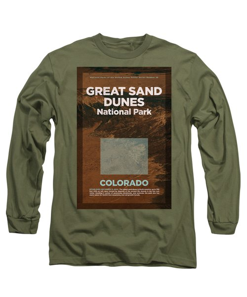 Great Sand Dunes National Park In Colorado Travel Poster Series Of National Parks Number 26 Long Sleeve T-Shirt