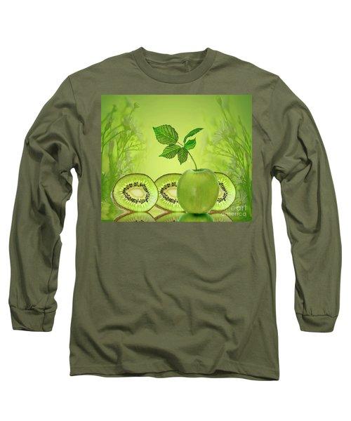Greeeeeen Long Sleeve T-Shirt by Shirley Mangini