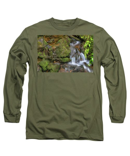 Long Sleeve T-Shirt featuring the photograph Green And Mossy Water Flow by James BO Insogna