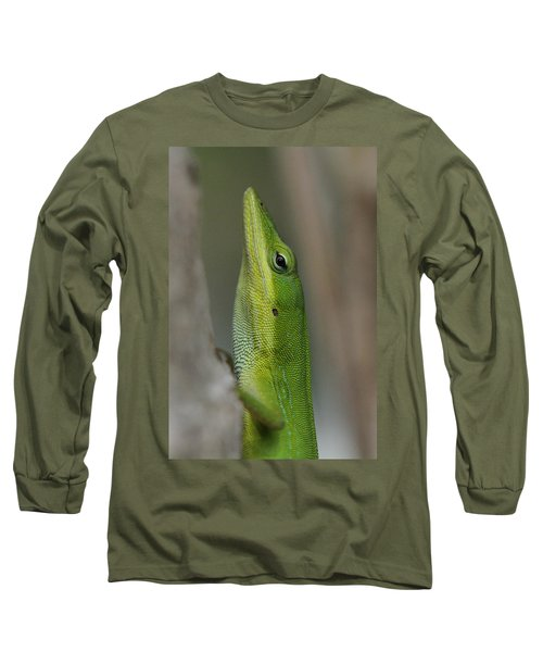 Long Sleeve T-Shirt featuring the photograph Green Anole by Doris Potter