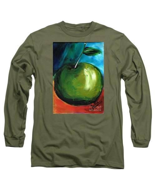 Long Sleeve T-Shirt featuring the painting Green Apple by Jolanta Anna Karolska