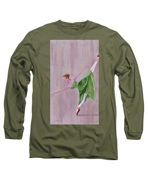 Long Sleeve T-Shirt featuring the painting Green Ballerina by Jamie Frier