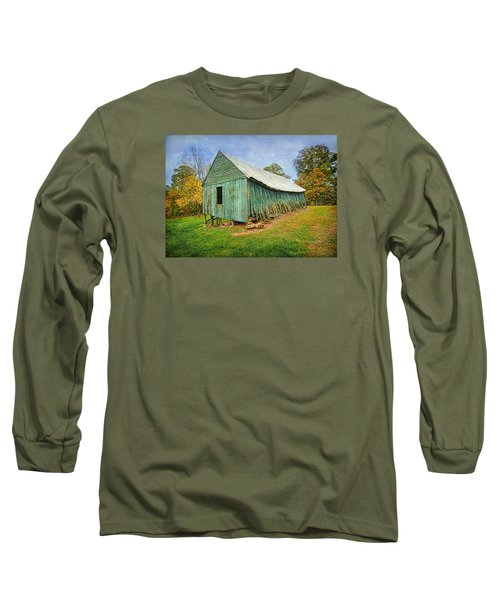 Long Sleeve T-Shirt featuring the photograph Green Barn by Marion Johnson