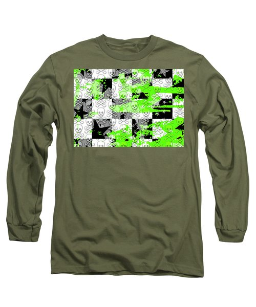 Green Checker Skull Splatter Long Sleeve T-Shirt by Roseanne Jones