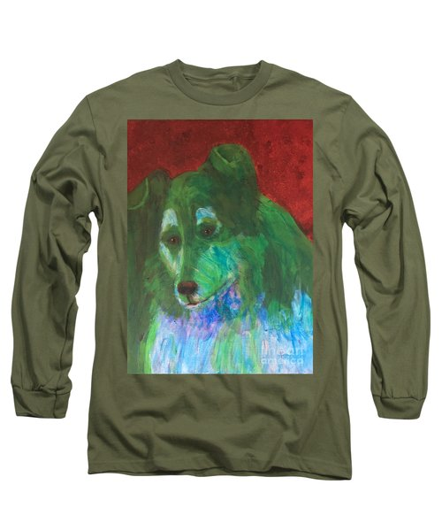 Long Sleeve T-Shirt featuring the painting Green Collie by Donald J Ryker III