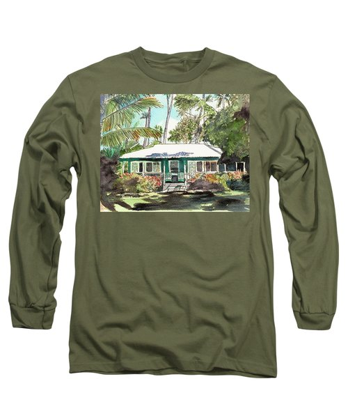 Green Cottage Long Sleeve T-Shirt by Marionette Taboniar