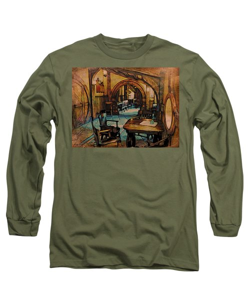 Long Sleeve T-Shirt featuring the digital art Green Dragon Writing Nook by Kathy Kelly