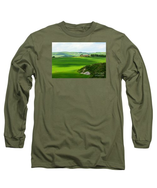 Green Escape In Tuscany Long Sleeve T-Shirt by Ramona Matei
