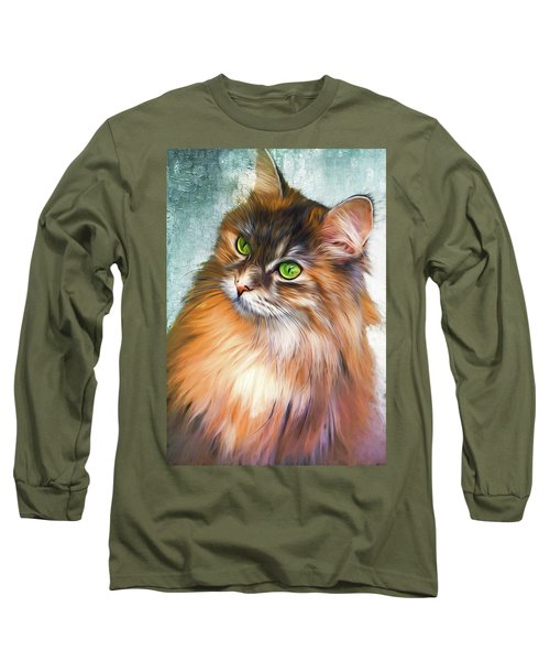 Green-eyed Maine Coon Cat - Remastered Long Sleeve T-Shirt