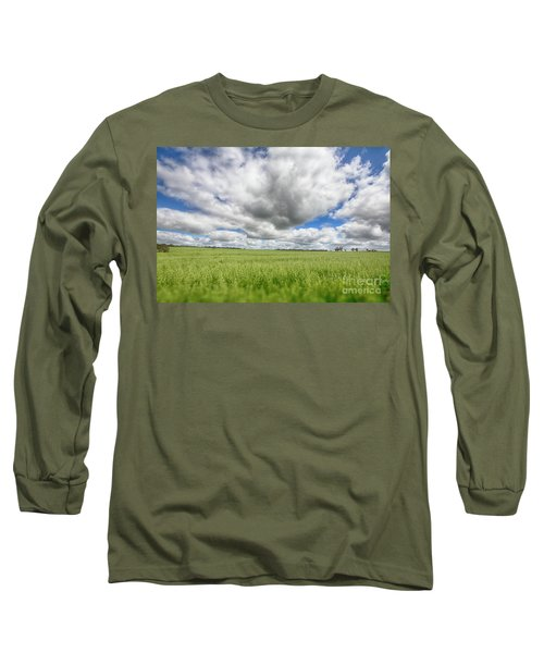 Green Fields 2 Long Sleeve T-Shirt by Douglas Barnard