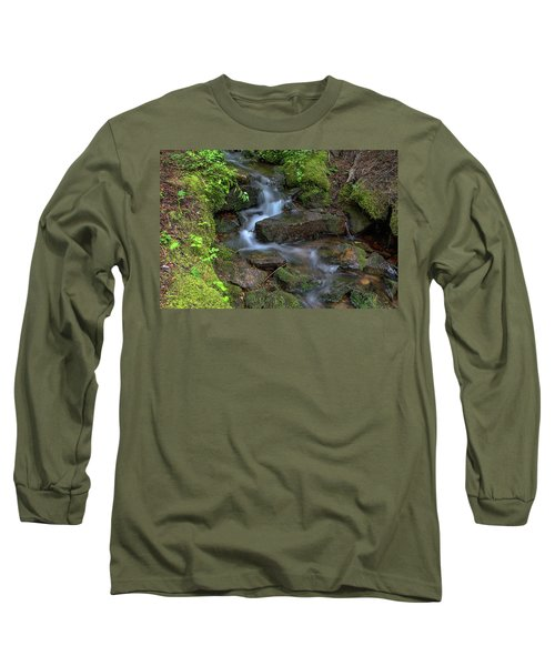 Long Sleeve T-Shirt featuring the photograph Green Flowing Stream by James BO Insogna