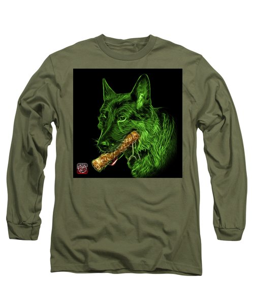 Long Sleeve T-Shirt featuring the digital art Green German Shepherd And Toy - 0745 F by James Ahn
