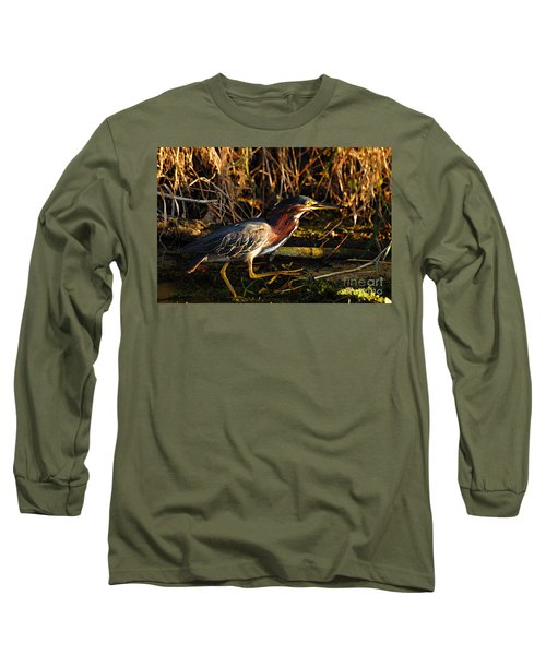 Long Sleeve T-Shirt featuring the photograph Green Heron by Larry Ricker