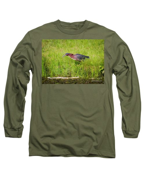 Long Sleeve T-Shirt featuring the photograph Green Heron On The Hunt by Ricky L Jones