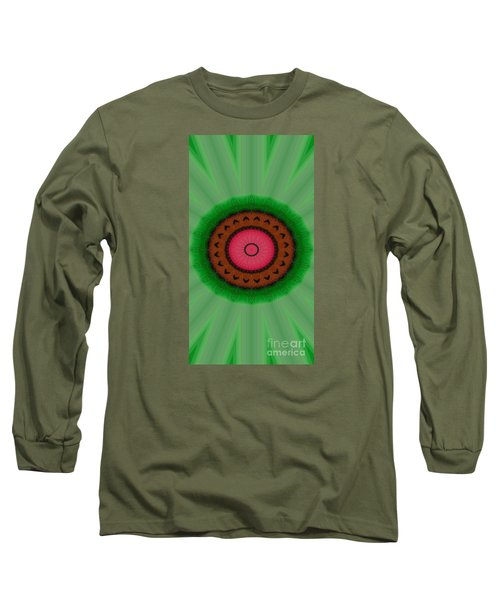 Long Sleeve T-Shirt featuring the drawing Green Mandala Painting By Sariblle by Saribelle Rodriguez