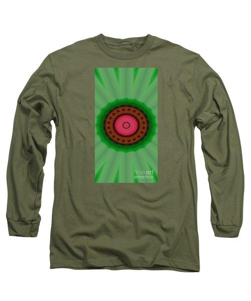 Green Mandala Painting By Sariblle Long Sleeve T-Shirt by Saribelle Rodriguez