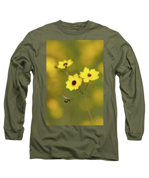 Green Metallic Bee Long Sleeve T-Shirt by Paul Rebmann