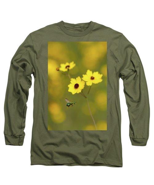 Green Metallic Bee Long Sleeve T-Shirt