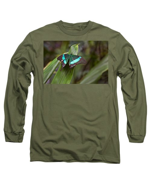 Long Sleeve T-Shirt featuring the photograph Green Moss Peacock Butterfly by Peter J Sucy