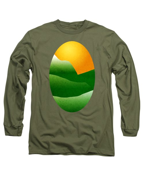 Green Mountain Sunrise Landscape Art Long Sleeve T-Shirt by Christina Rollo