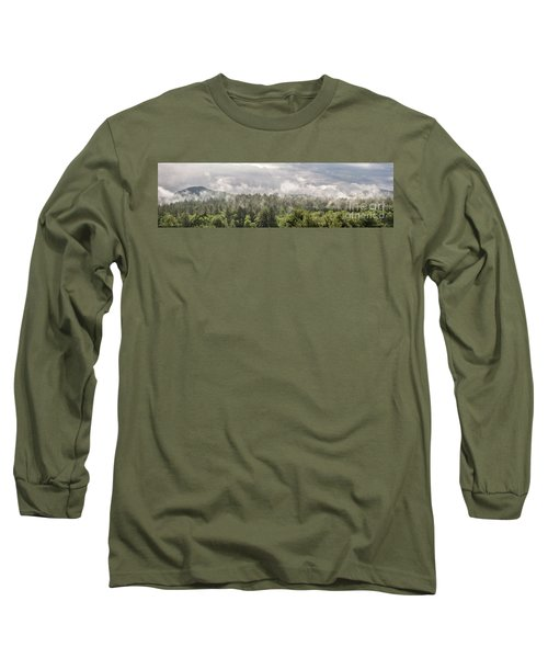 Green Mountains Fog Panoramic Long Sleeve T-Shirt