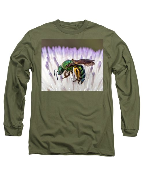 Green Orchid Bee Long Sleeve T-Shirt