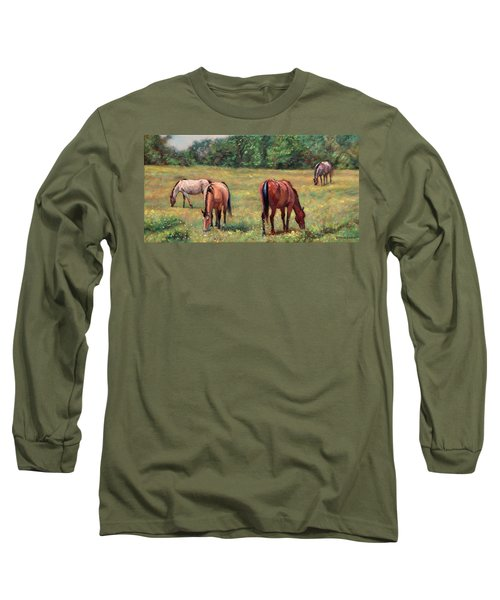 Green Pastures - Horses Grazing In A Field Long Sleeve T-Shirt by Bonnie Mason